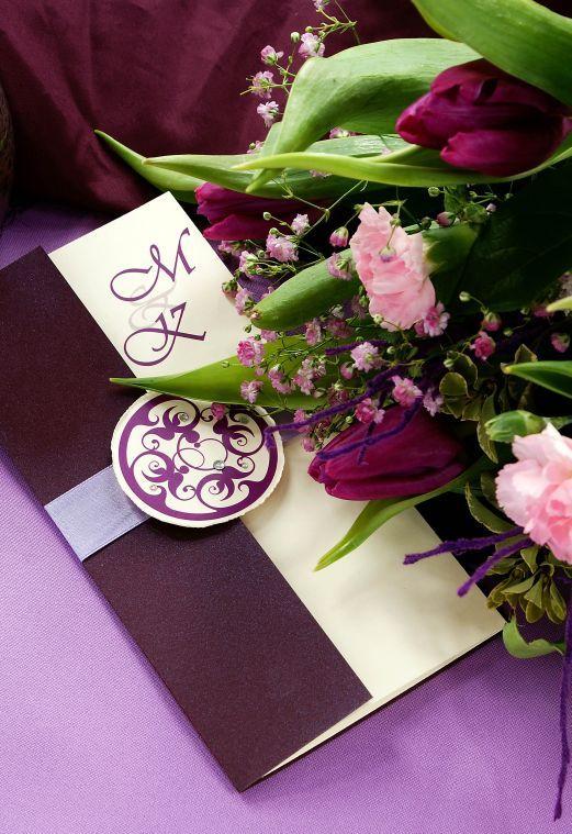Zaproszenia ślubne Bangkok w specjalnej, fioletowej kolorystyce