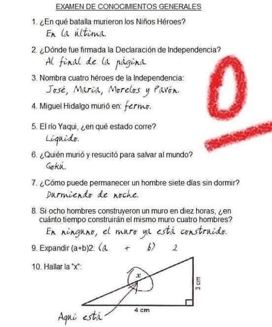 17 Respuesta de examen que son tan ingeniosas que deberían ser correctas