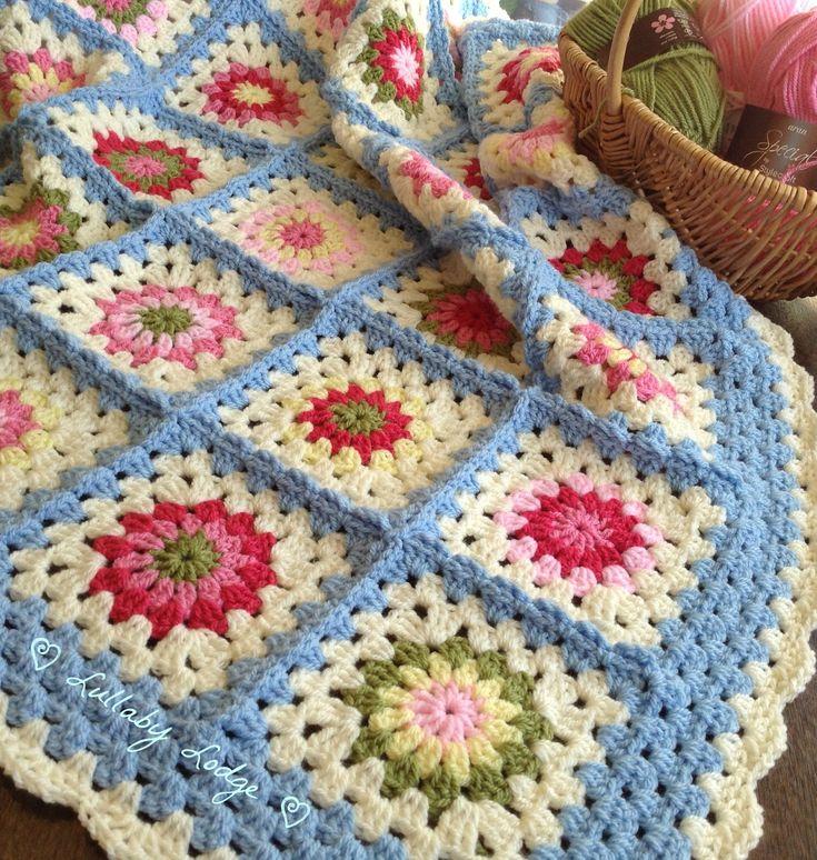 Cath Kidston Inspired Crochet Granny Flower Blanket