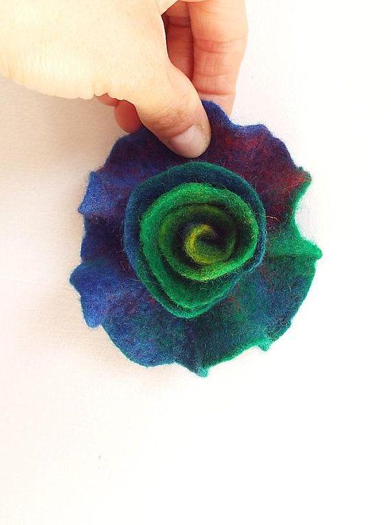 Felted Flower Brooch Felt Flower Brooch Multicolor Flower Felt