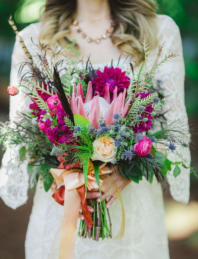 bohemian wedding bouquet of protea, thistle and dahlias - Deer Pearl Flowers