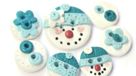 Snowman buttons polymer clay christmas buttons by LittleHappyBoom