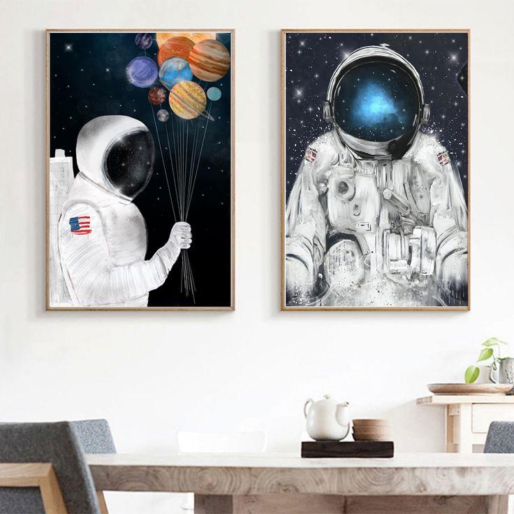 Cool cartoon space astronaut canvas print wall art