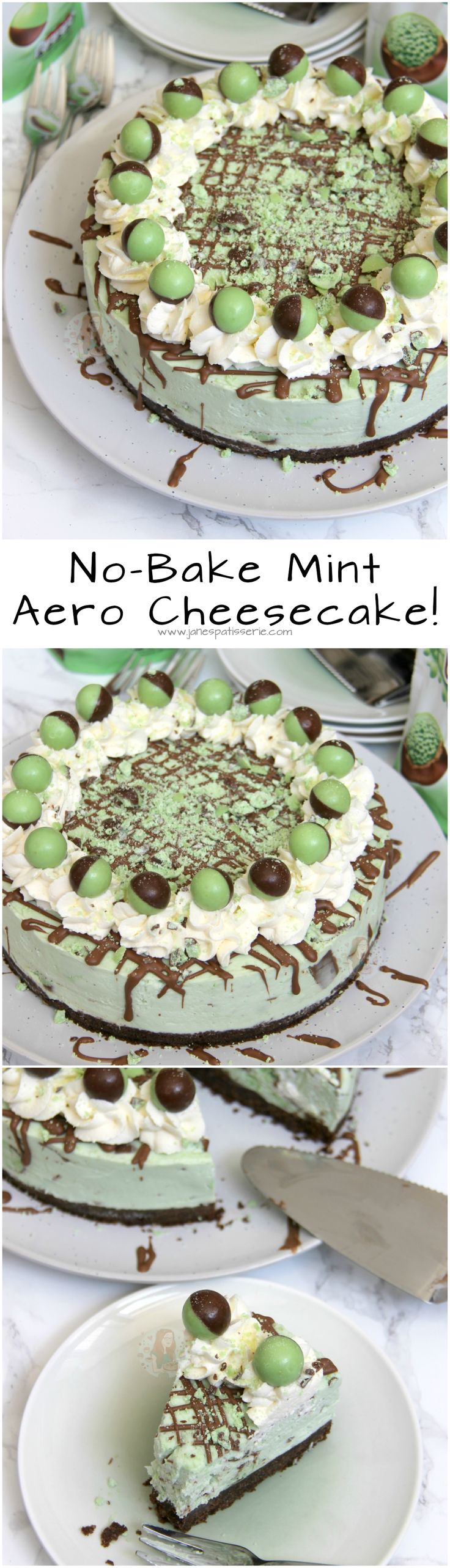 No-Bake Mint Aero Cheesecake! ❤️ Chocolate Digestive base, Mint Aero Cheesecake filling, and even more Mint!