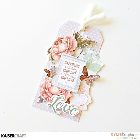 """'Love' Tag by Kylie Kingham Design Team member for Kaisercraft Official Blog Group Post. Featuring their New May 2017 collection """"Sage and Grace"""" Learn more at kaisercraft.com.au/blog ~ Wendy Schultz ~ Tags."""