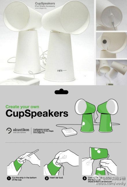 Make speakers with paper cups and toothpicks