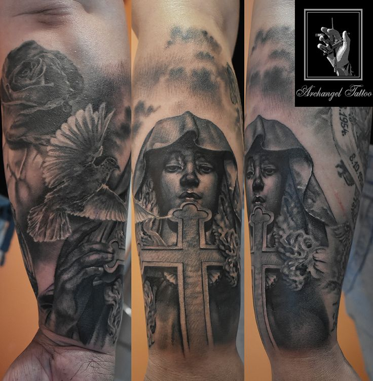 Realistic holy Mary tattoo theme + rose and a dove by Gabor Smola. You can find more of my works on social network: www.instagram.com/gabor_smola, www.facebook.com/GaborSmolaArchangelTattoo