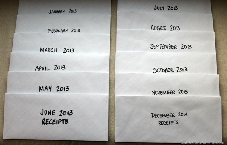 receipts in envelopes