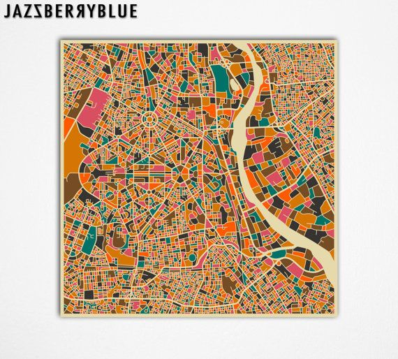 NEW DELHI MAP, Giclee Fine Art Print, Modern Abstract, India, Wall Art, Home Decor by Modern Artist Jazzberry Blue