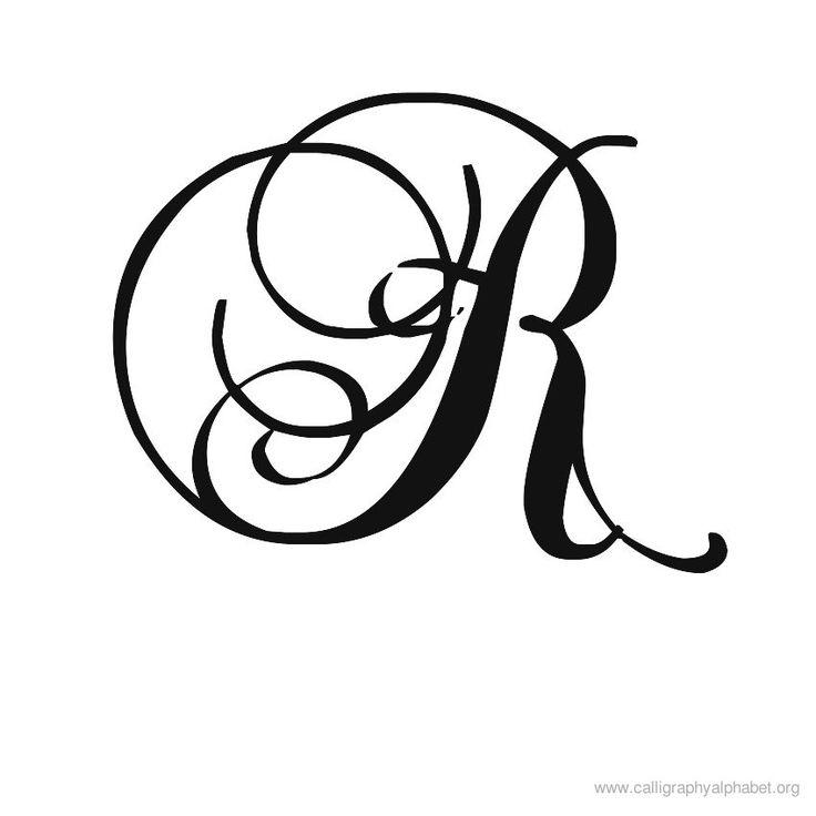 Calligraphy Alphabet Romantic R