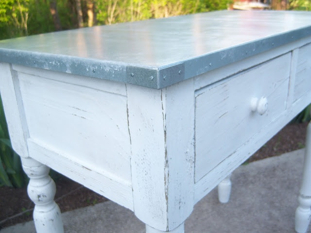 Alternate method to finish corners on DIY zinc topped table--no soldering involved