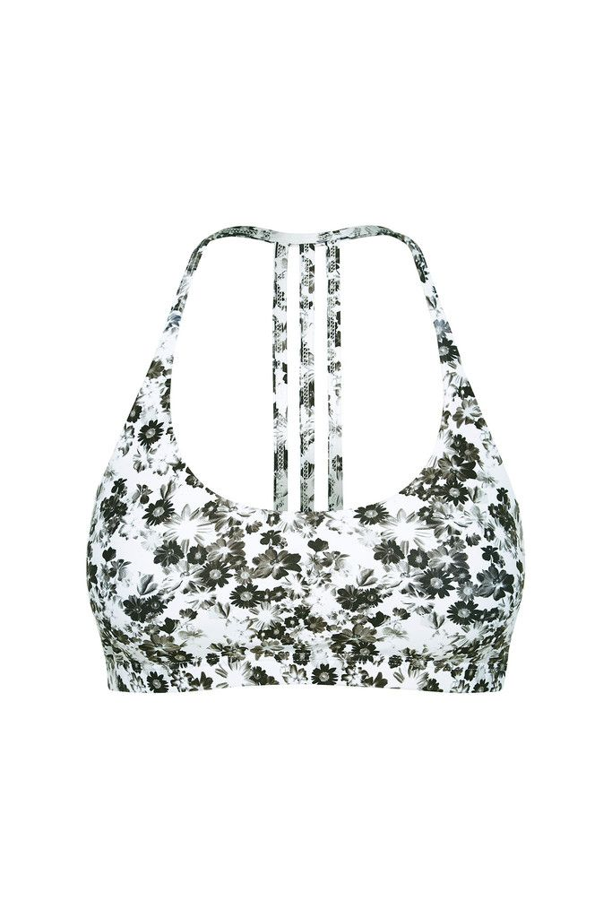 Freedom Flow Sports Bra - Mono Daisy Print – Dharma Bums Yoga and Activewear