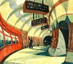 The Tube Station by Cyril Power: London Underground, Cyril Power, Cyril Edward, Illustrations, Grosvenor Schools, Prints, Tube Stations, Art Deco, Curves