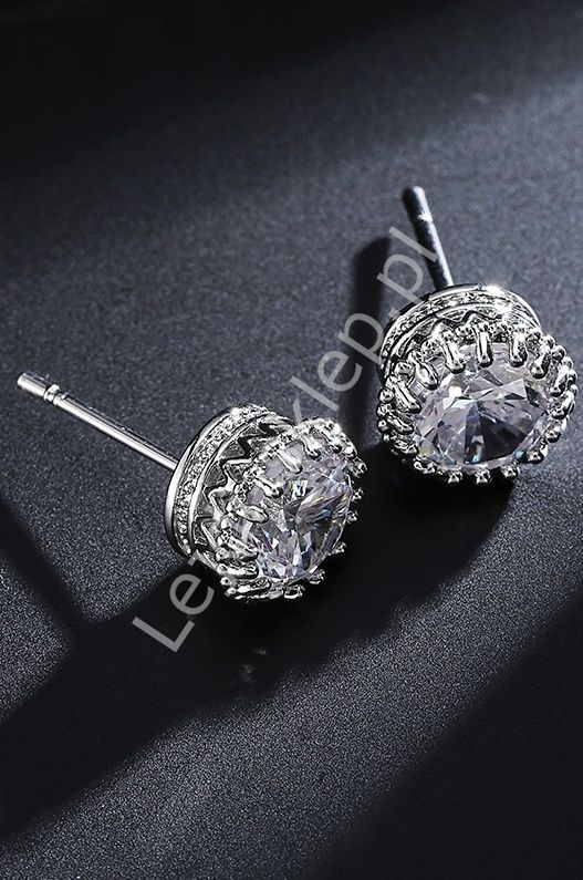 Silver earrings with crystals. Kolczyki cyrkonie w kolorze srebrnym | kolczyki wieczorowe ślubne