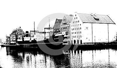 Ship in port in Gdansk, black and white