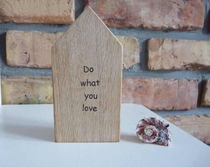 Do what you love wooden house, Small handmade wood home, Quote Word Houses,  Massage wooden house , little handmade houses, wooden gift by nkcraftstudio on Etsy