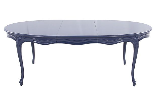Henredon  Navy Dining Table on OneKingsLane.com; love laquer on a traditional table