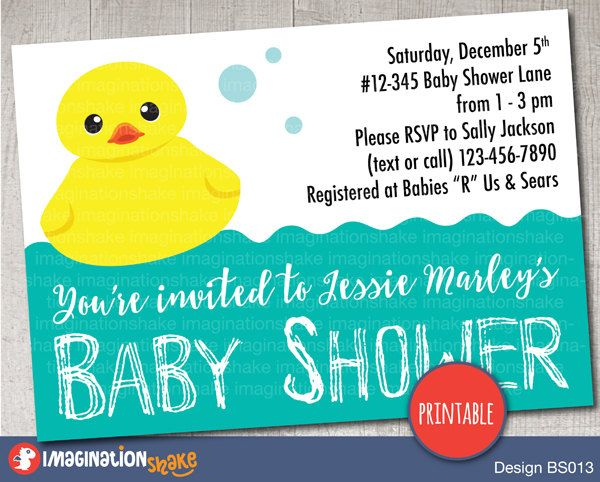 Personalized Rubber Ducky Baby Shower Invitation PRINTABLE / Gender Neutral Shower Invite / DIY Baby Shower / Rubber Duck Green Baby Shower - pinned by pin4etsy.com