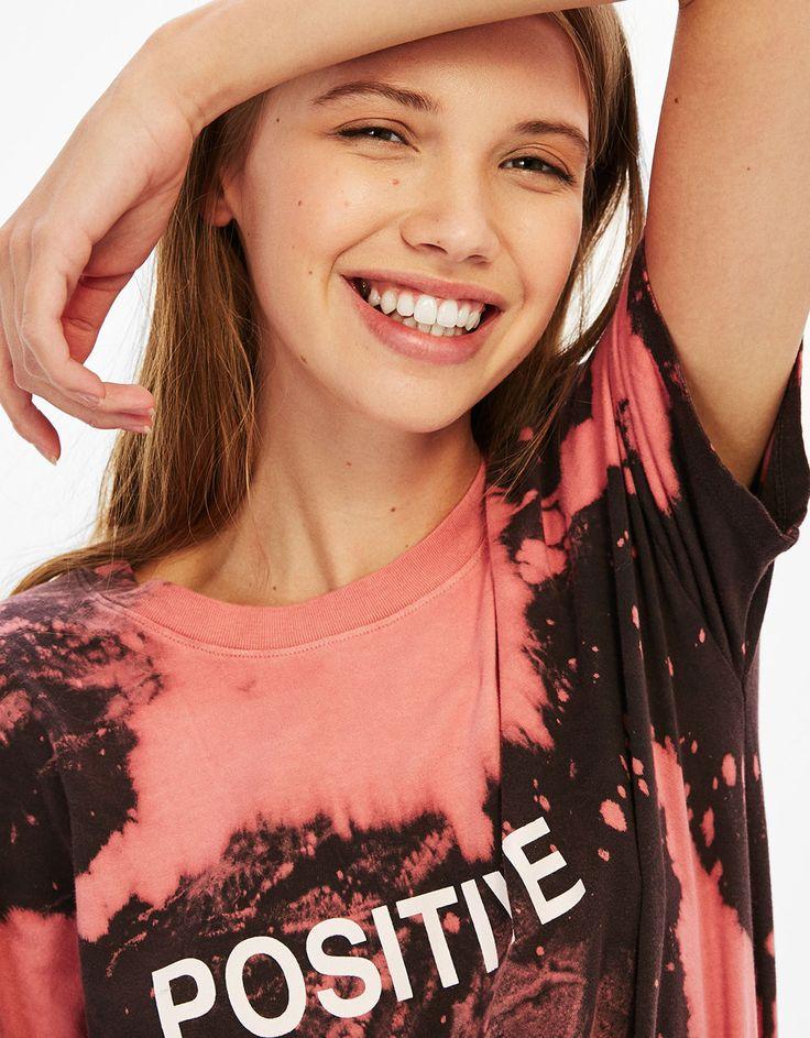 Tie-dye T-shirt met choker rugpand - T-Shirts - Bershka Netherlands