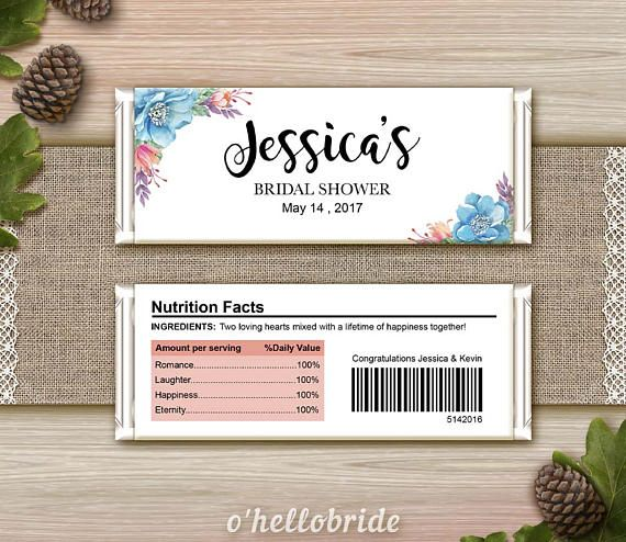 ★ This listing is for a DIGITAL FILE only. No physical items will be shipped ★ Printable Personalized Chocolate Wrapper for Bridal Shower Suitable for Regular Size Hersheys Chocolate Bar 1.55oz Please let us know the following details at checkout: - Name of Bride-to-Be - Name of
