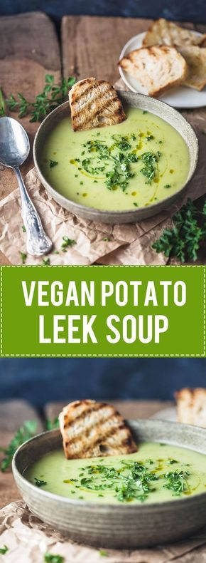 This Vegan Potato Leek Soup is creamy and filling, just the perfect soup for cold winter days! This recipe is Dairy-Free, Gluten-Free, and Vegan. #glutenfree #leeksoup #soup