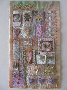 More of Beryl Taylor's work.Hand stitching onto mixed media with tons of embellishments...gorgeous!