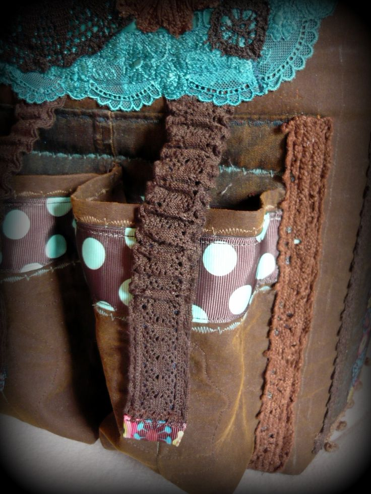 Handmade by Judy Majoros - Brown-turquoise polka dots chrochet scrapbooking tote-bag. Recycled bag. Materials:chrochet-cordura-rubber strap-velcro-canvas...