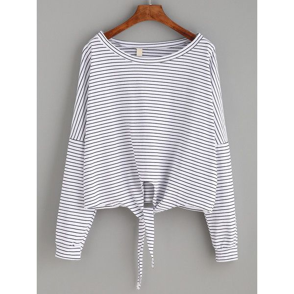 White Striped Tie Front T-shirt (€8,88) ❤ liked on Polyvore featuring tops, t-shirts, white, stretch t shirt, white tee, long sleeve stretch tee, striped long sleeve t shirt and long sleeve tees