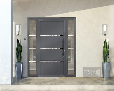 Front doors - exclusive doors - Aluminium doors + 2 side elements for any size in Home, Furniture & DIY, DIY Materials, Doors & Door Accessories | eBay