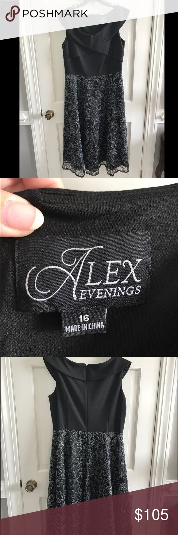 Black Tea Length Gown by Alex Evenings, Size 16 Black Tea Length Gown by Alex Evenings, Size 16 - beautiful silver beading, portrait neckline. This is a gorgeous dress - very elegant. Worn once. Alex Evenings Dresses Prom