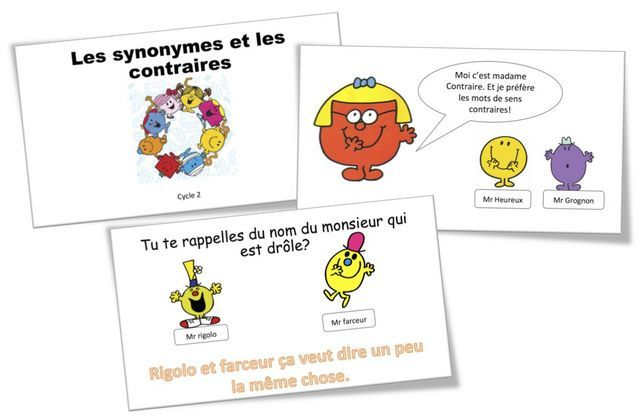 Les Synonymes Et Les Contraires Avec Les Monsieur Madame