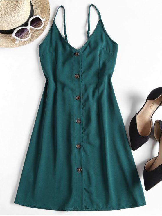 Contrast Button Front Cami Mini Dress