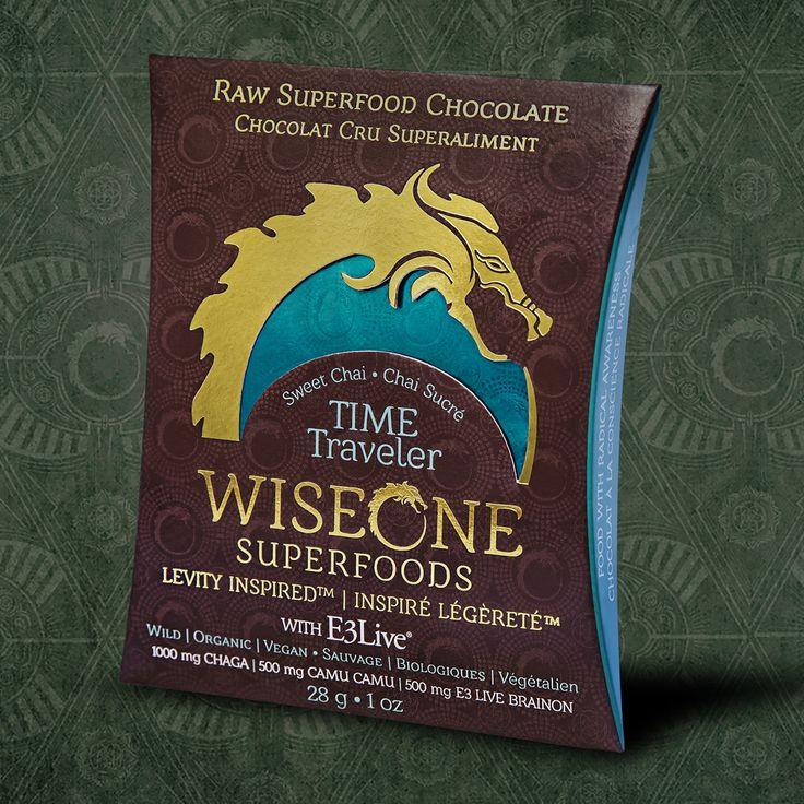 Our Time Traveler Bar with jungle grown cacao, E3 Live BrainOn, Chaga Mushroom, and Camu Camu.   Chocolate Designed to Fuel the Celebration.