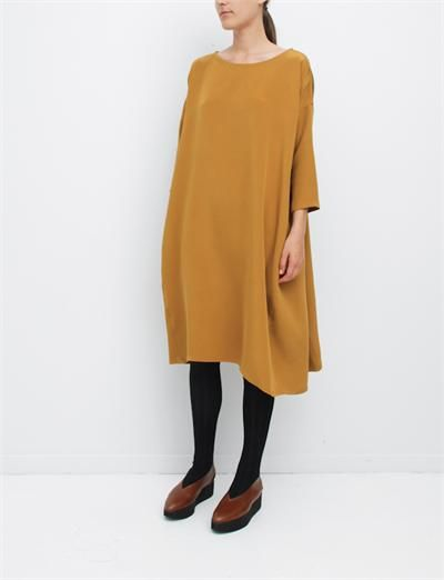 Creatures of Comfort Roman Dress Washed Silk Mustard