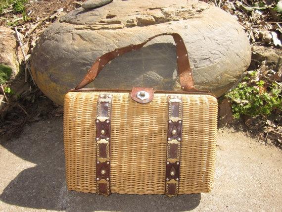 large vintage straw purse