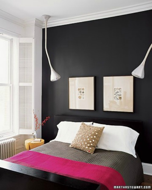 Black bedroom wall with a pop of colour want to recreate for Flat black wall paint