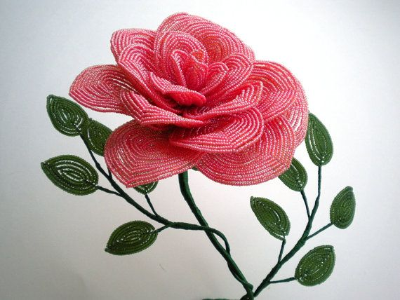Golden Pink Cabbage Rose  French Beaded Flower