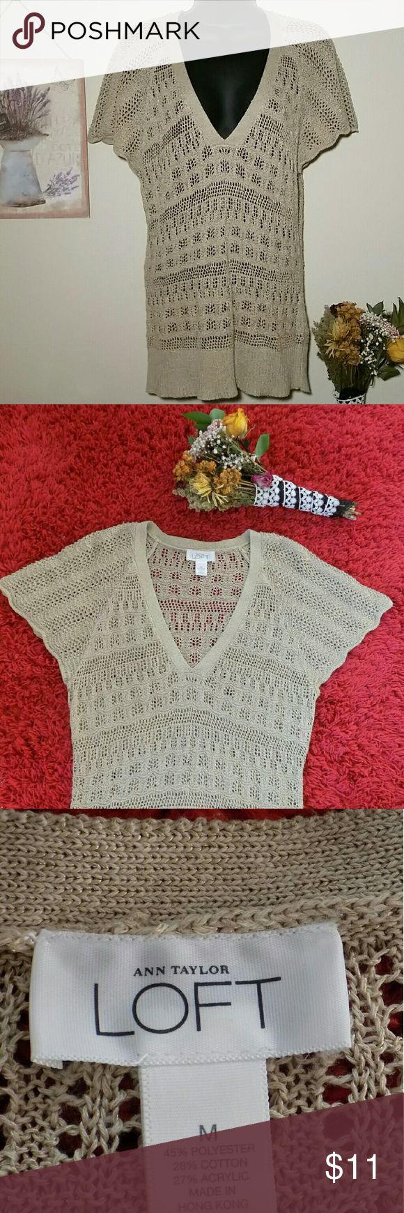 LOFT ANN TAYLOR SOFT SWEATER TOP 🌾 Super cute Croche sweater 🌾                   gently used condition 😊 45% polyester 28% cotton 27% acrylic 🌾 🚫smoke free home🚫  Muy bonito sueter de crochet🌾 Gentilmente usado😊 En muy buenas condiciones🌾 SOFT Sweaters V-Necks