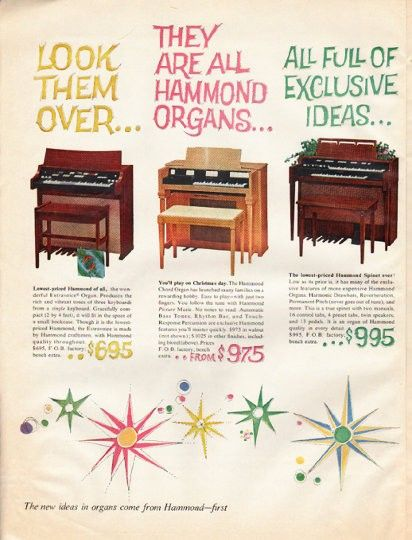 "1961 HAMMOND ORGAN vintage magazine advertisement ""Look them over"" ~ Look them over ... They are all Hammond Organs ... All full of exclusive ideas ... All crafted with Hammond care ... Which one suits you? ... Models Extravoice Organ, Hammond Chord ..."