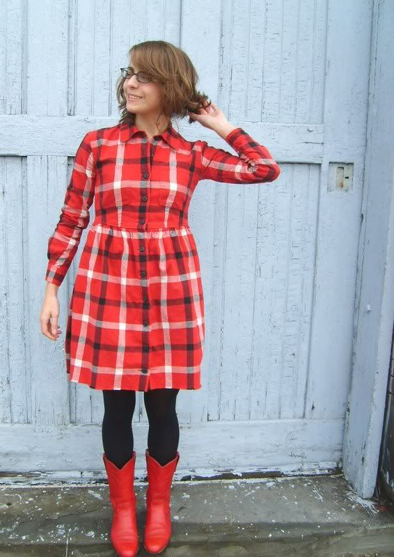 Lady Lumberjack, made from a very large man's flannel shirt
