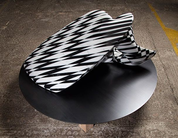 Mat Chivers -2016 The Harmonic Distortion sculptures are formed from solid blocks composed of alternately black and white sections of marble. The black and white patterns have a binary, pixel-like quality that alludes to how information is processed and transmitted digitally. Two forms adapted from data relating to the physics involved in the formation of a breaking wave, and two moments edited from three-dimensional data of a cumulus cloud supercell forming and disintegrating over time…