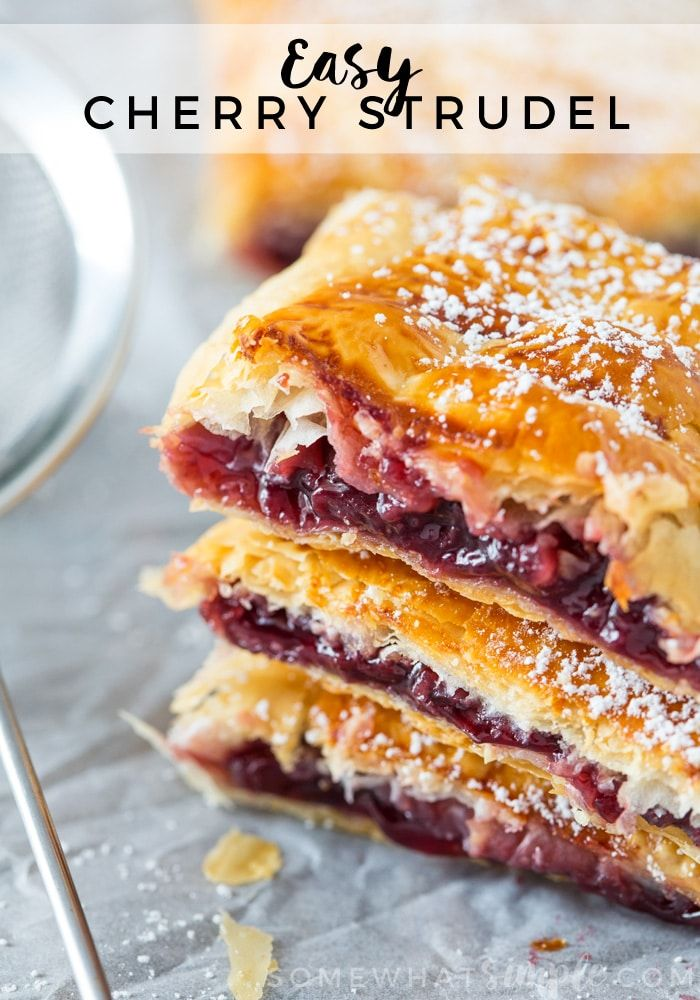 This Cherry Strudel is so tasty nobody will believe it is so ridiculously easy to make! Just a few ingredients stand between you and this flaky, sweet pastry!