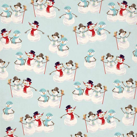 "Carta Bella Snow Fun Collection Scrapbook Sweet Snowmen 12"" x 12"" Double Sided Cardstock Paper"