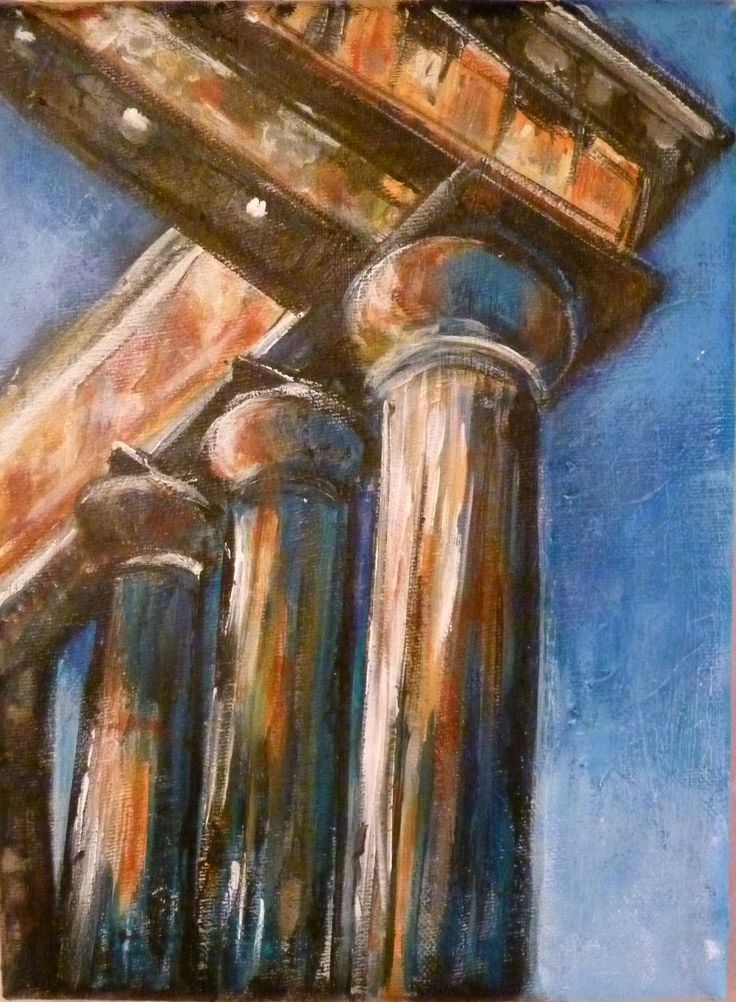 Columns of Aphie TemplePrice:Framed Euros 120 Measurements: 18cm x 24cm Media: Acrylic on Canvas  After visiting the Aphie Temple again I took a number of photos at sunset to add to my drawings. I chose the contrast of the sunset against the columns while looking up towards to the sky. This is the start of my new series – 'Columns of Greece' Especially from the Island of Aegina where the Aphia Temple is. This style of Column is the Doria style.