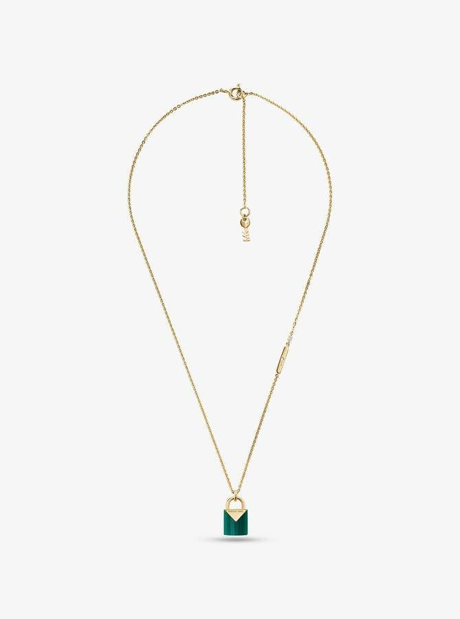 Michael Kors 14k Gold Plated Sterling Silver Lock Necklace Gold Michael Kors Lock Necklace Gold Plated Sterling Silver 14k Gold Plated