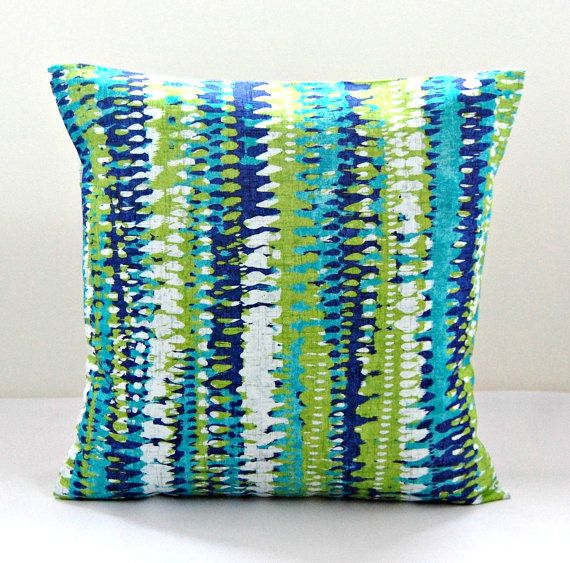 Blue And Green Striped Throw Pillows : decorative pillow cover blue, green, white abstract stripes cushion cover 18 inch on Etsy, $32 ...
