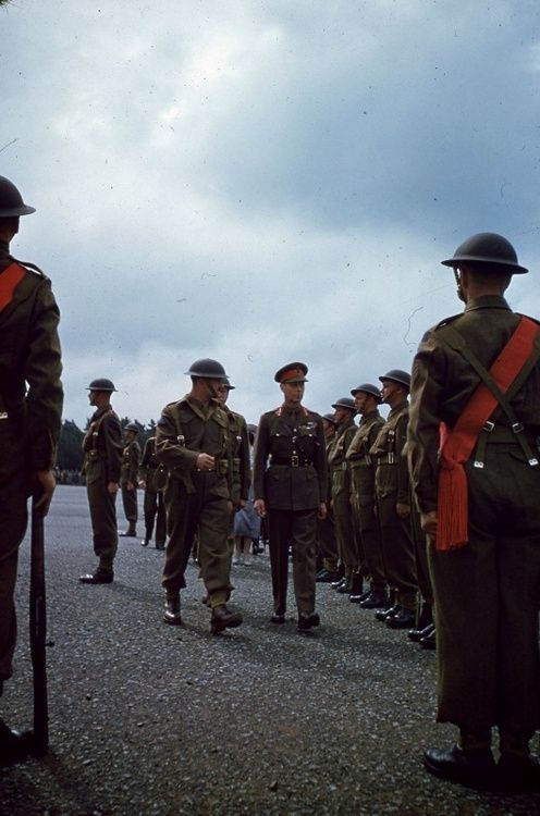 King George VI reviewing Canadian troops, c. 1944