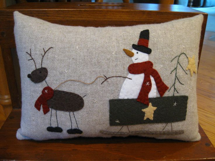 Primitive Wool Applique Christmas Pillow Rudolph's Express