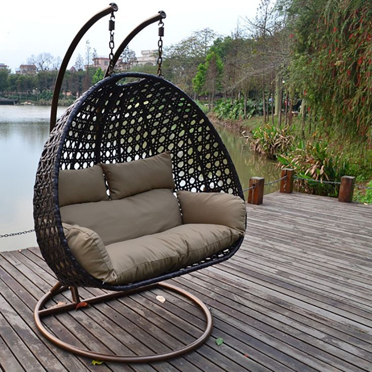 Poly Rattan Hanging Chair Twin Brown - interior ideas ...
