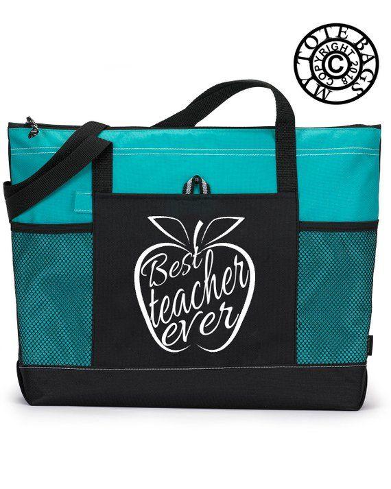 World/'s Best Teacher White Design Tote Bag Shopping Beach School End Of School Gift